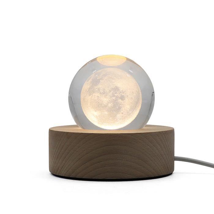 Lampe de table lampe de lune 3D LED base lumineuse boule de cristal veilleuse