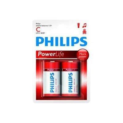 PHILIPS Piles LR14 / C Powerlife Alcaline - 1,5 V - Pack de 2