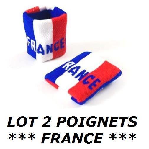 * EURO 2021 * LOT 2 BRACELETS FRANCE FRANCAIS Poignet éponge Sport Football Jogging Tennis No maillot drapeau écharpe fanion ...