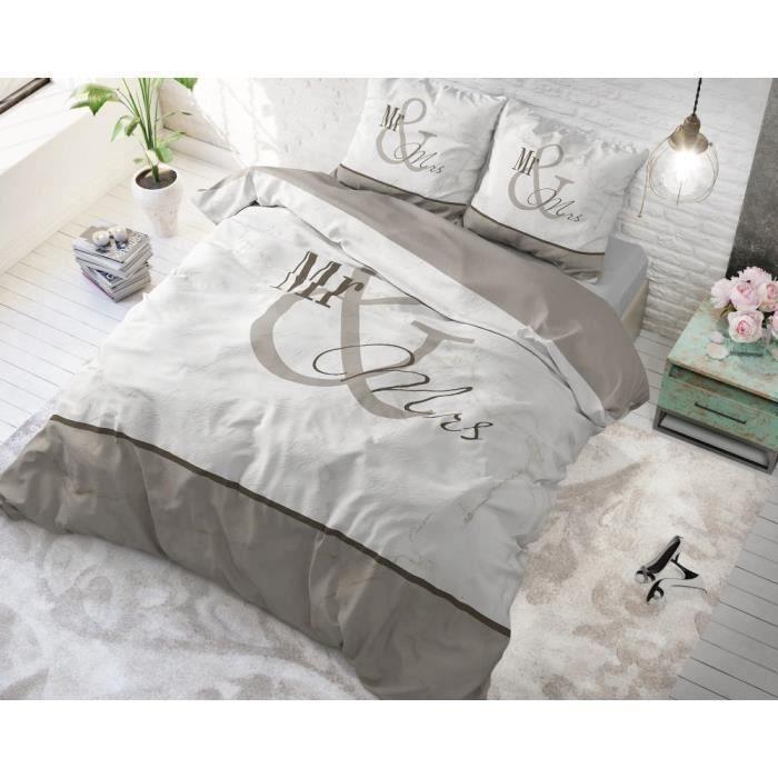 Housse de couette avec 1 taie d'oreiller 100% Cotton140X200-220Mr and Mrs 3 Marble Taupe