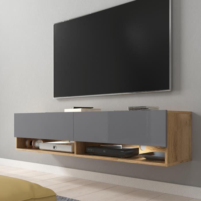 Meuble TV / Meuble de salon - WANDER - 140 cm - avec LED - chêne wotan / gris brillant - design moderne
