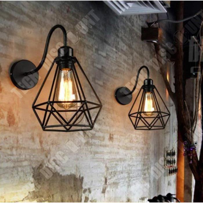 TD® iDEGU Lot de 2 Applique Murale forme Diamant en Métal Fer Noir, Lustre abat-jour Cage Forgé Lampe Rétro Industrielle E27 pour Cu