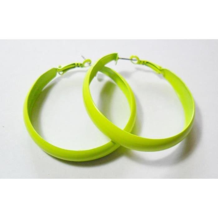 Bijoux fantaisie 6 cm Boucles d/'oreilles créoles ovales vert fluorescent