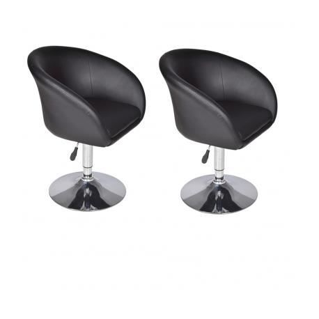 lot de 2 fauteuils de bar lounge noirs achat vente. Black Bedroom Furniture Sets. Home Design Ideas