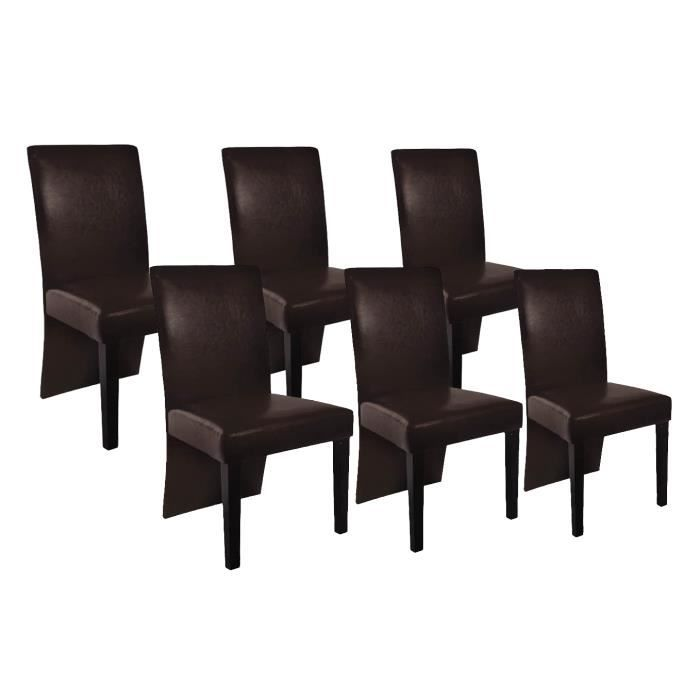 6 chaises de salle manger simili cuir marron achat. Black Bedroom Furniture Sets. Home Design Ideas