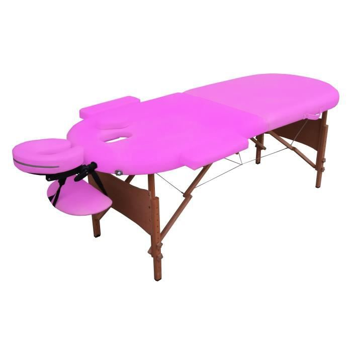 Ogs table de massage rose pliante portable bois achat vente table de massage ogs table de - Table de massage pliante bois ...