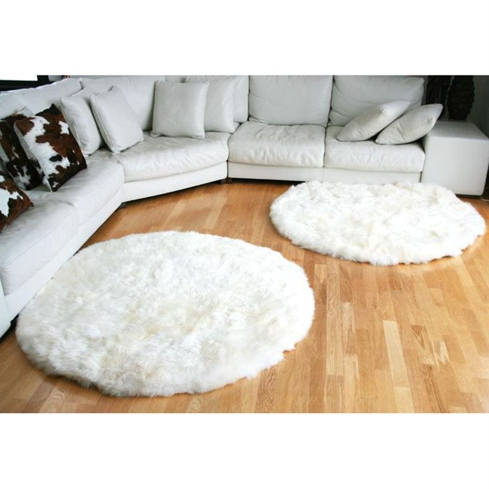 tapis rond en peau de mouton blanc achat vente tapis cdiscount. Black Bedroom Furniture Sets. Home Design Ideas