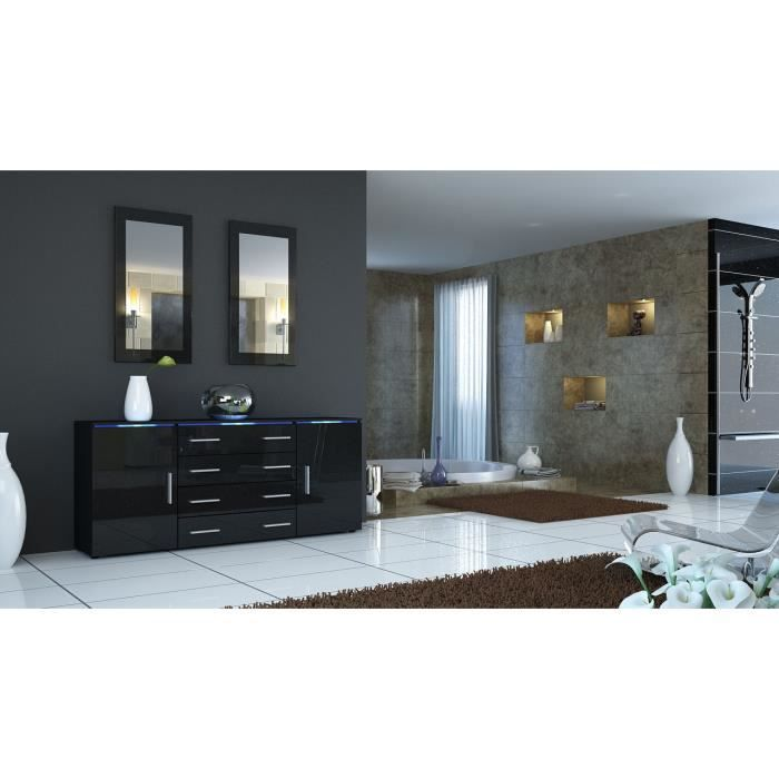 buffet enfilade noir et noir m tallique laqu achat. Black Bedroom Furniture Sets. Home Design Ideas