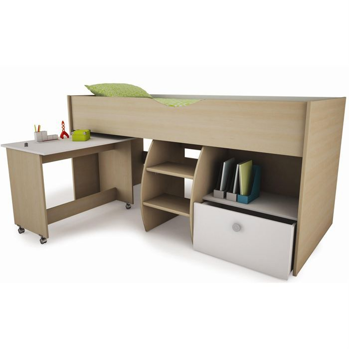 lit combin enfant avec bureau mike achat vente lit combine cdiscount. Black Bedroom Furniture Sets. Home Design Ideas