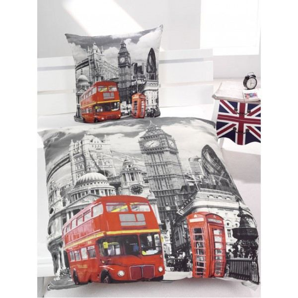 housse de couette reversible london bus achat vente parure de couette soldes cdiscount. Black Bedroom Furniture Sets. Home Design Ideas