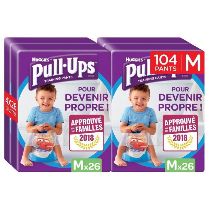 grande Huggies Pull-Ups Couches Culottes dapprentissage pour gar/çon Lot de 4