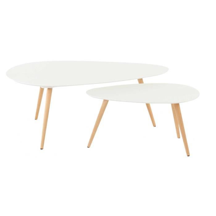 tables basses gigognes ch ne et laqu blanc 116 cm scandie. Black Bedroom Furniture Sets. Home Design Ideas