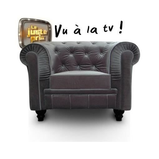 Fauteuil chesterfield velours argent luxe achat vente fauteuil velours - Fauteuil chesterfield argent ...