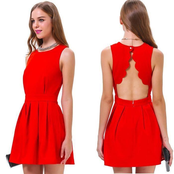 Manches D Ete Dos Nu Sexy Robe De Soiree Couleur Rouge De La Jeune Fille Achat Vente Robe De Ceremonie Cdiscount