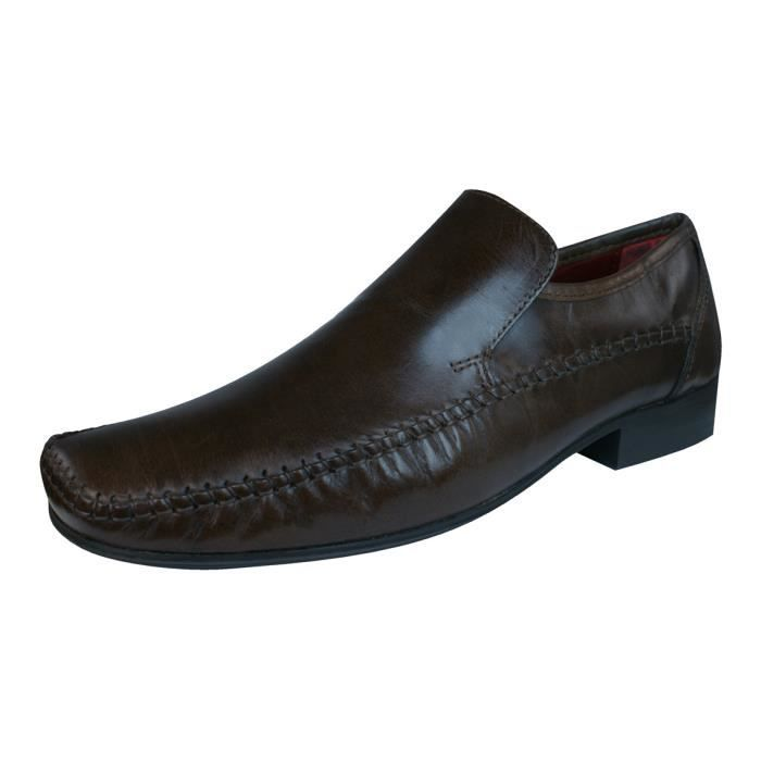 Rouge Tape Whittle hommes en cuir Loafers - Chaussures Marron 8 zgAeabn