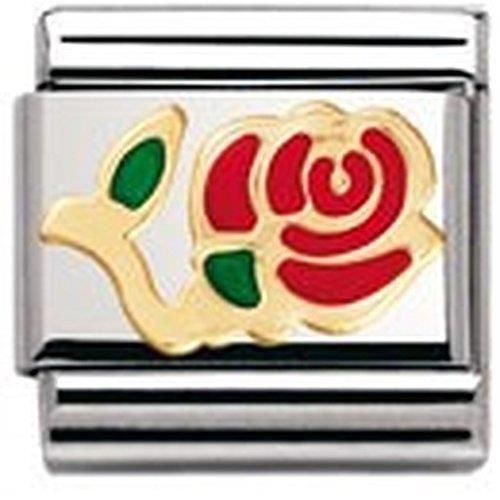 030214 Acier inoxydable et Or jaune 18 cts Maillon pour bracelet composable Nomination Femme