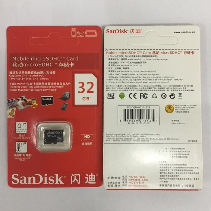 sandisk carte m moire 32 go micro sd class 10 pour smartphone t l phone xiaomi samsung huawei. Black Bedroom Furniture Sets. Home Design Ideas