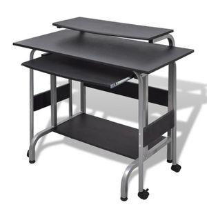 BUREAU  Magnifique Table de Bureau Reglable noire pour ord