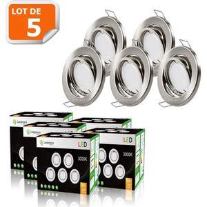 SPOTS - LIGNE DE SPOTS LOT DE 5 SPOT LED ENCASTRABLE ORIENTABLE ALU BROSS