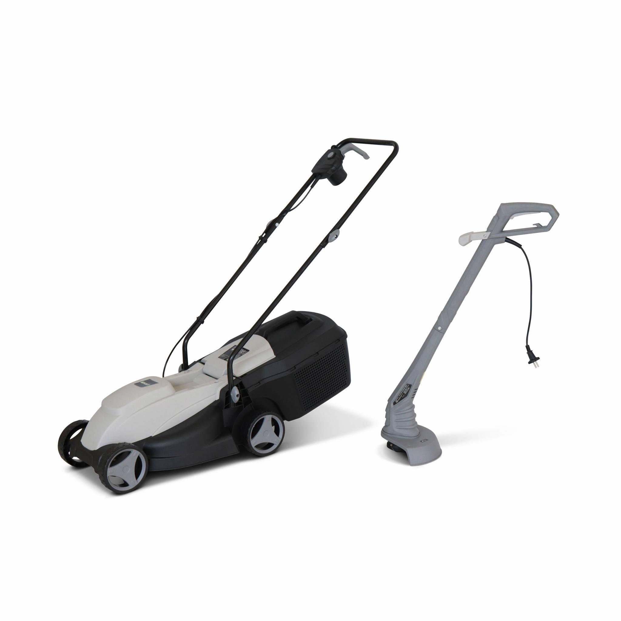 VOLTR - Pack électrique tondeuse à gazon Ø32cm 1300W + débroussailleuse Ø22cm 250W - Collecteur herbe, coupe bordures, ensemble