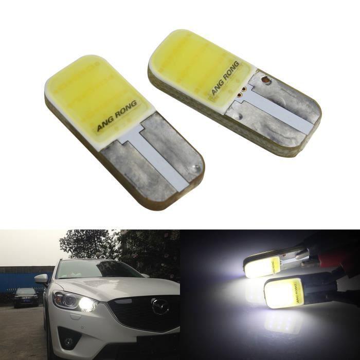 2x Ampoules Veilleuses LED T10 W5W COB Blanc LED Numéro de licence Plaque Canbus Anti Erreur Moto Voiture