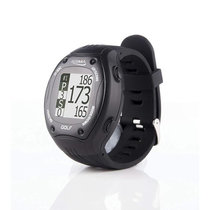 POSMA GT1+ GPS Montre Golf noire, Entraîneur de golf , télémètre, Cours de golf préchargés