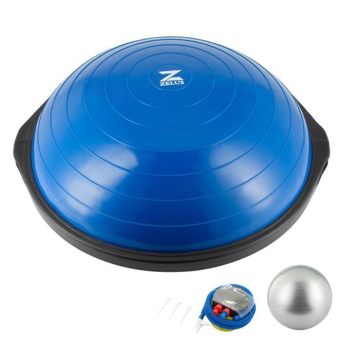 64cm Balle d'Équilibre Balance Trainer Ball 2 Bandes de Résistance Ballon d'Équilibre Demi-Ballon d'Entraînement Pompe à Piedbleu