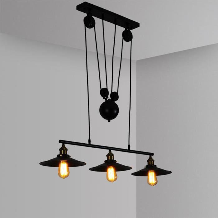 MOGOD 3 Luminaires Suspension Lustre en Métal Plafonnier Poulie Industrielle