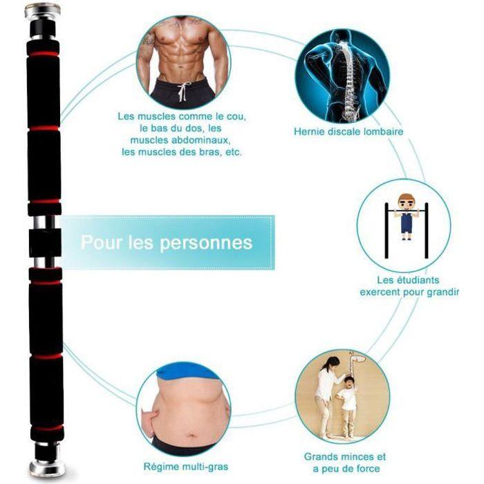 Barre de Traction Porte Barre de Musculation 62-105cm en Acier Inoxydable- Noir Rouge