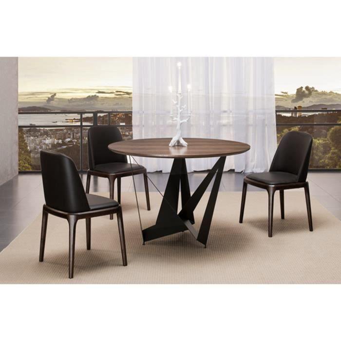 Table à manger ronde design marron en bois - Antas - DESIGNETSAMAISON