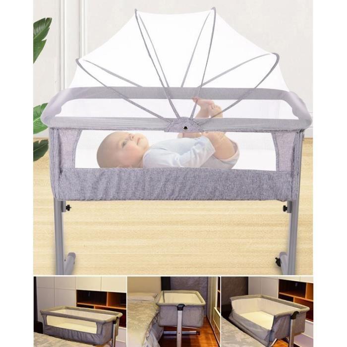 GMM® Berceau Bébé Avec Matelas Moustiquaire - Lit Cododo pour bebe 0-36 Mois - Charge 60kg - Gris