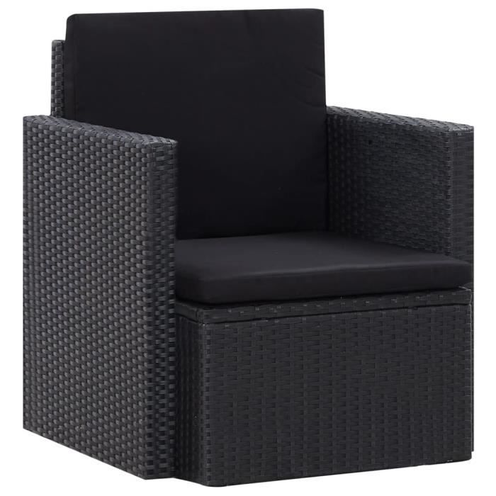 Chaise de jardin - Fauteuil Jardin avec coussins Résine tressée Noir