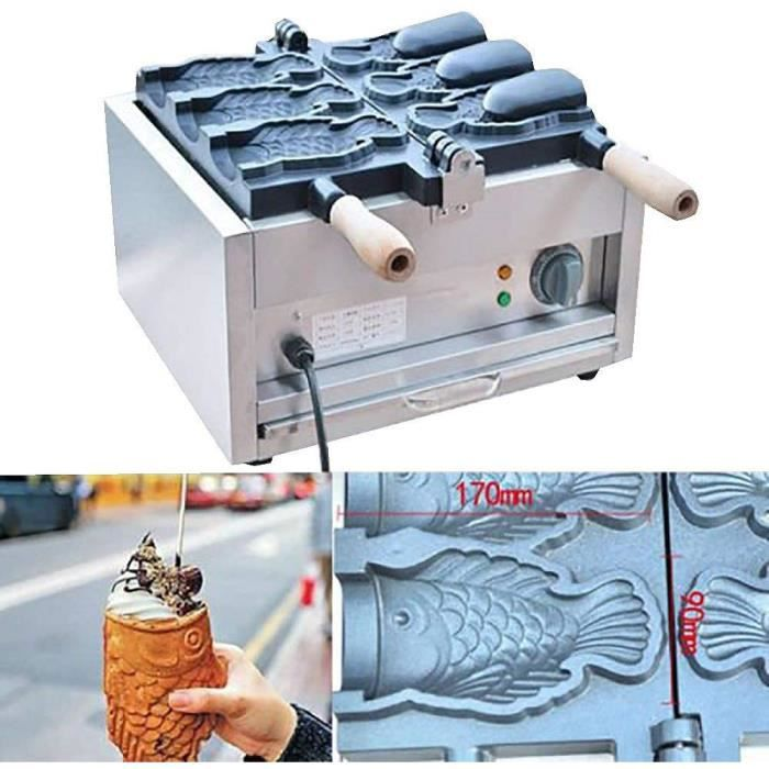 Gaufrier en forme de poisson Taiyaki Machine Électrique Crème Glacée Cône d'oeuf Bouche Ouverte Grand Diamètre CE 220V (3 à la fois)
