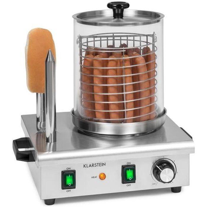 Klarstein Wurstfabrik Pro 550 Machine à hot dogs 550W - Capacité 5 L - Température réglable en continu 30-100°C - Verre & inox