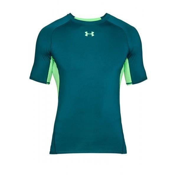 T-shirt de compression Under Armour HeatGear bleu vert pour homme