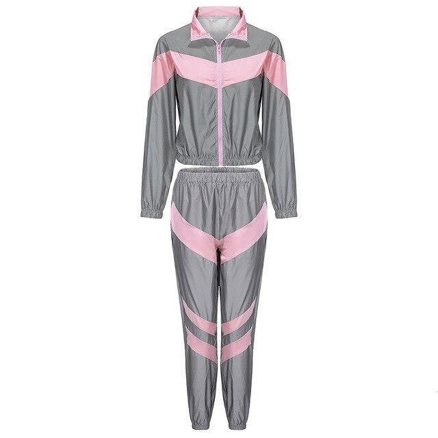 Zencart Femmes Survêtements 2 Pièces Ensemble Réfléchissant Zip Haut Court Pantalon Coupe-vent Mode Femme Ample Lueur Veste Mant