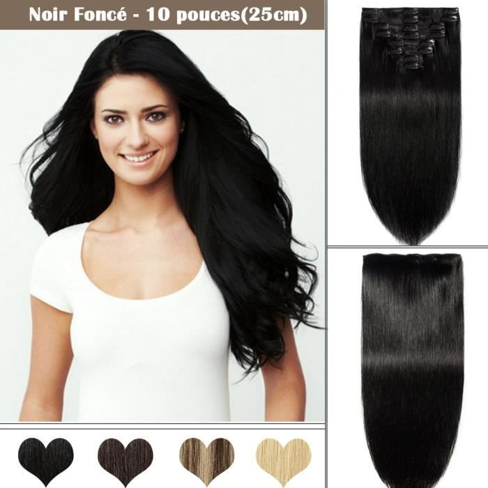 Extensions a Clips Cheveux Naturels 8 pcs Epaisseur Moyenne Remy Human Hair - NOIR FONCE(10 pouces-25cm)