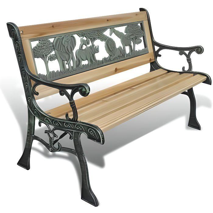 Superbe Banc de Jardin en Fonte Design Animaux 80 x 24 cm