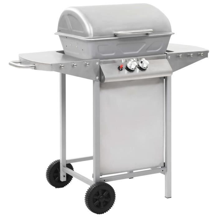 vidaXL Barbecue à gaz avec 2 zones de cuisson Acier Argenté