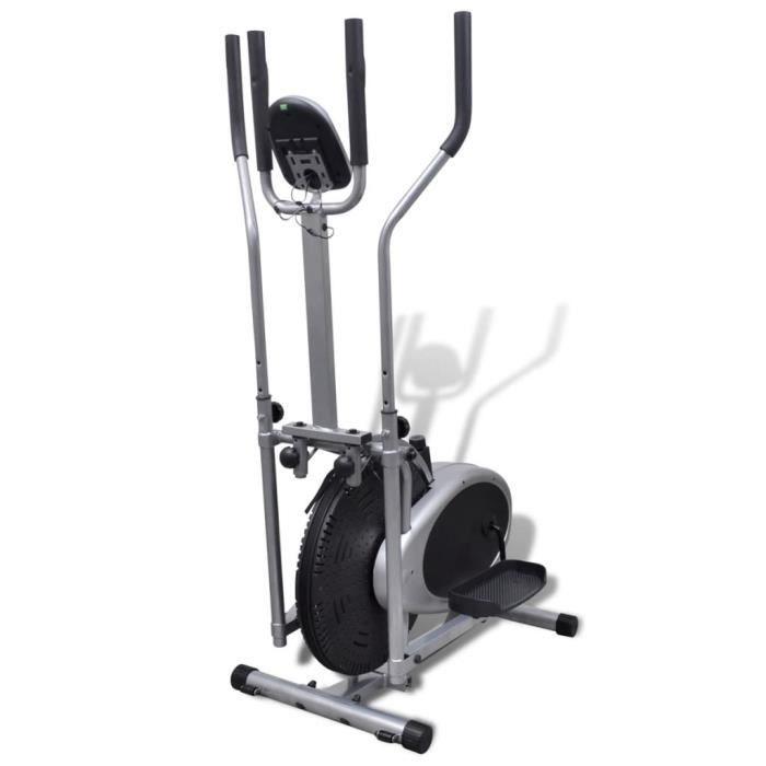 Vélo elliptique - 4 poteaux - Pouls - 1 100 x 500 x 1 550 mm 100 kg - noir XIX