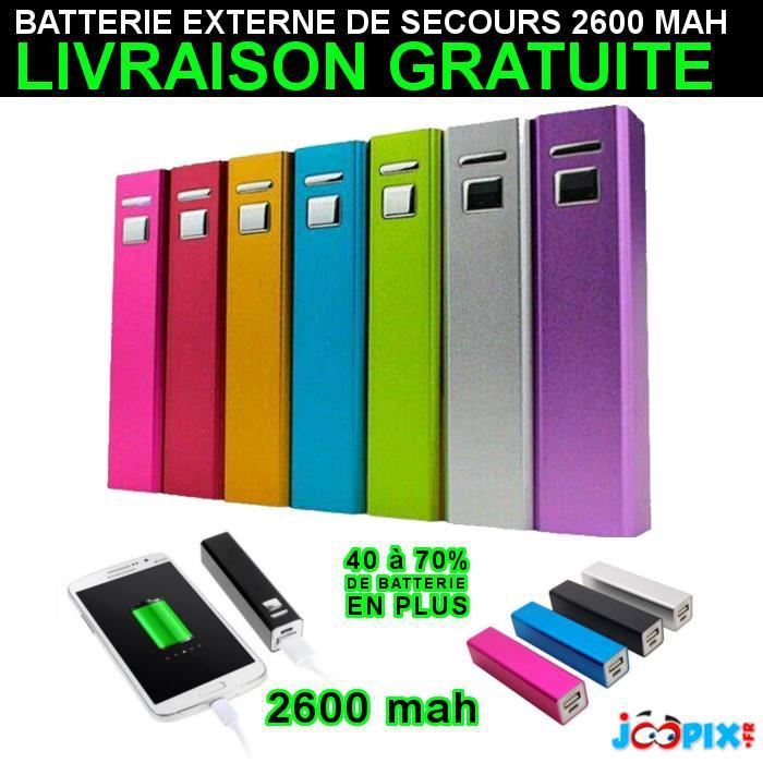 batterie externe de secours powerbank 2600mah samsung iphone sony nokia lg wiki htc achat. Black Bedroom Furniture Sets. Home Design Ideas