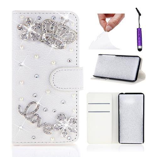 Coque Samsung Galaxy J5, CODERAM Strass Housse en Cuir PU avec Portefeuille de Cartes (Couronne)