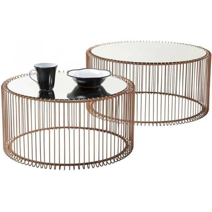 Table basse ronde wire cuivre 2 set kare design achat vente table basse t - Table basse design discount ...