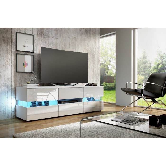 Meuble tv inter blanc blanc gloss led achat vente meuble tv meuble tv inter blanc b - Meuble tv led blanc ...