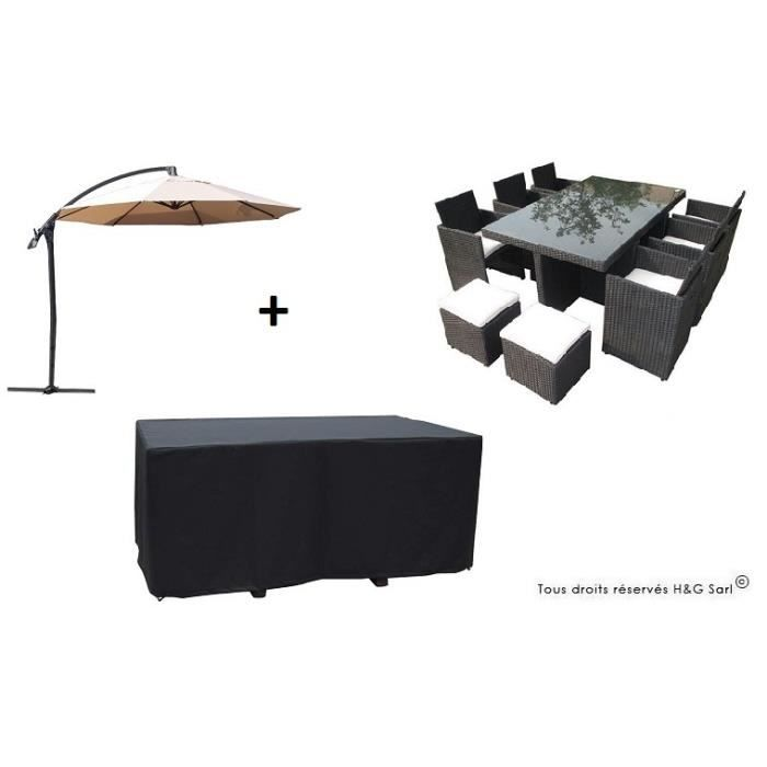 Salon de jardin encastrable en resine tressee noire 10 for Salon de jardin encastrable 10 places