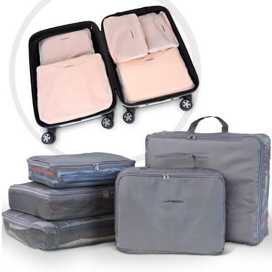 set de 5 sacs de rangement pour valise gris gris achat vente valise bagage 4250787486986. Black Bedroom Furniture Sets. Home Design Ideas