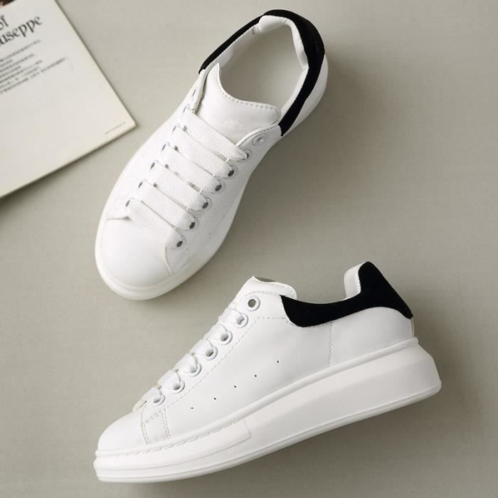 cuir blanc sneakers luxe chaussures de planche roulettes de la femme date mode multiples. Black Bedroom Furniture Sets. Home Design Ideas
