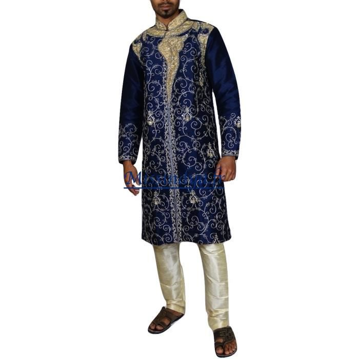 Sherwani kurta mariage tenue indien bollywood homme bleu for Robes de mariage indien pour homme