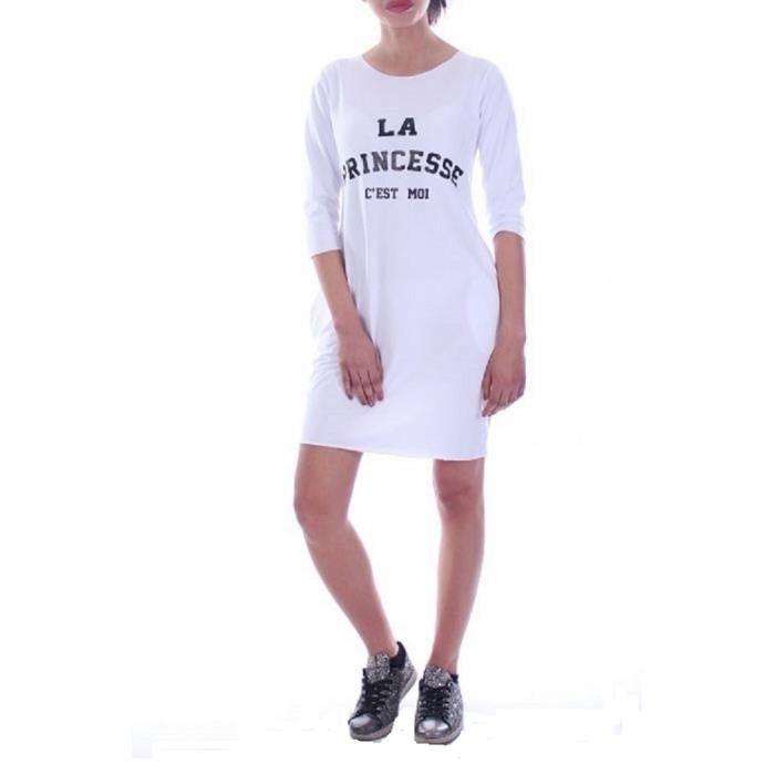 Fashion Boutik Robe Tunique Blanche Avec Poches La Princesse C Est Moi Blanc Achat Vente Robe Soldes Des Le 15 Juillet Cdiscount