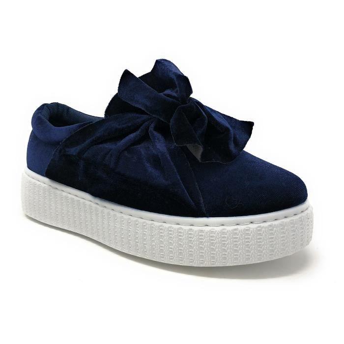 Velvet Taille Bow Qujuj 39 on Chic Slip Avec Sneaker Fashion rvArTq